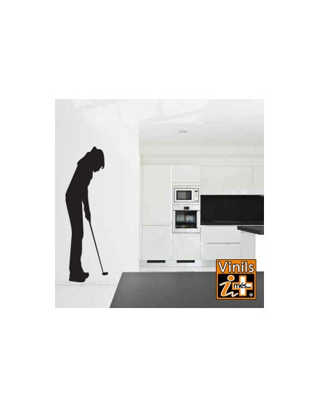 VINILO PARED SILUETA GOLF CHICA